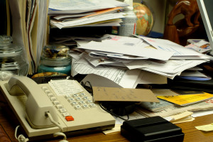 Messy funeral home desk