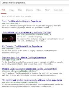 Google SERP: ulitmate website experience