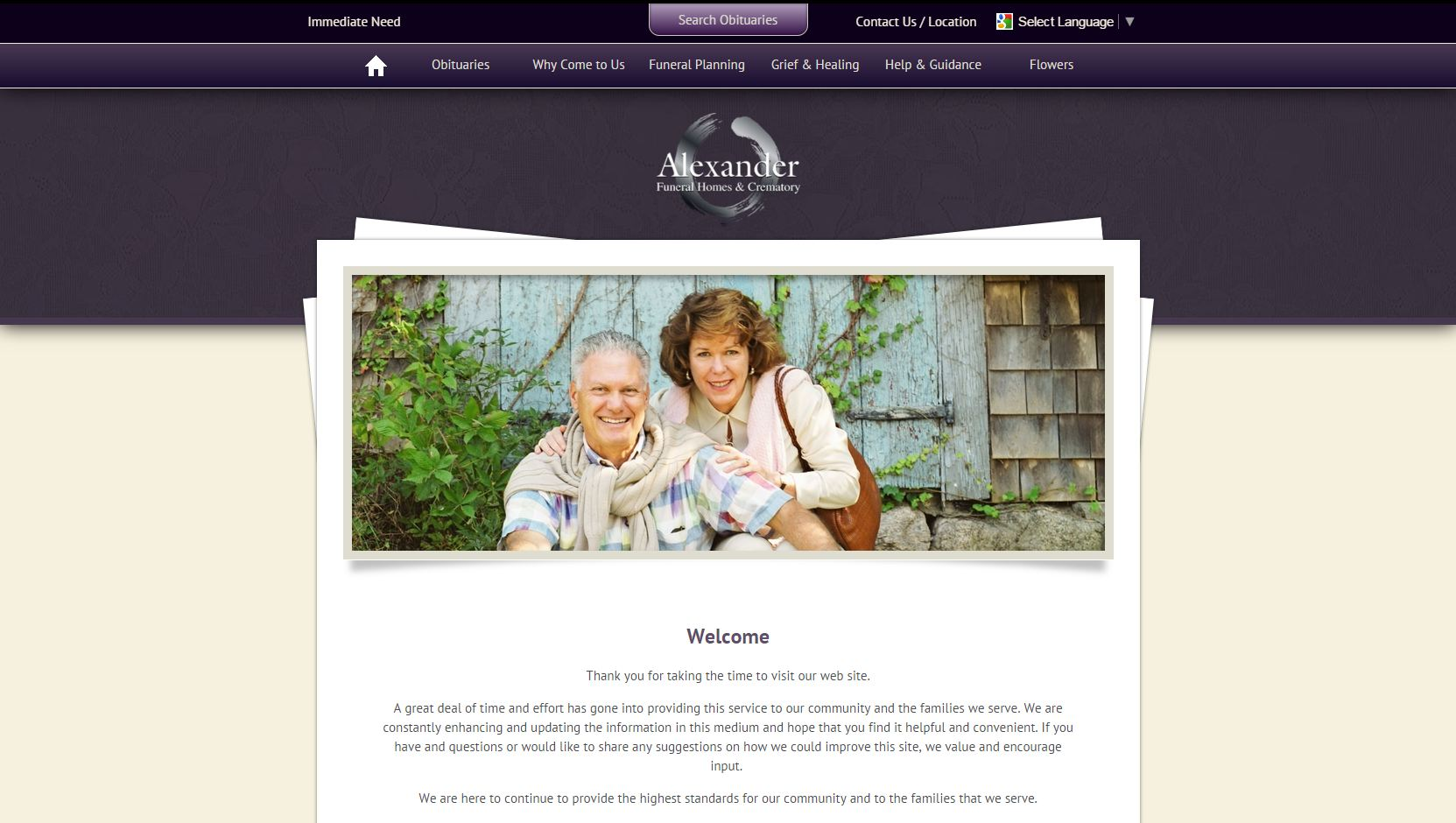 Alexander Funeral Homes Uses One Of FrontRunneru0027s Modern Designs Which  Features A Simple Eye Catching Layout And A Larger Obituary Slider.