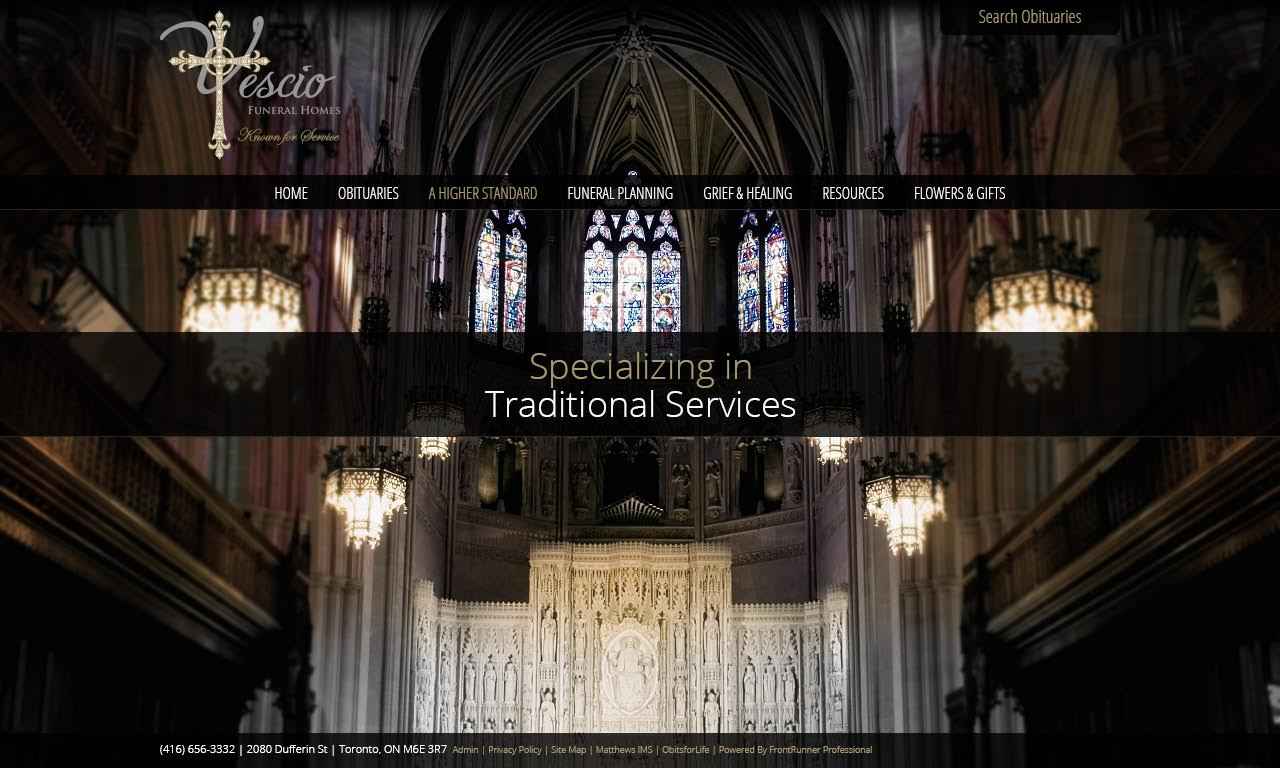 Vescio S Funeral Home Website Is One Of The Newest Websites Which Frontrunner Has Created It Has A Unique Homepage And A Very Sleek Modern Design