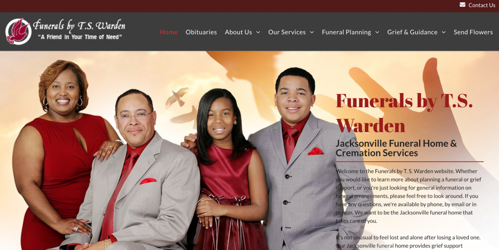 TS Warden Funeral Home Website Design