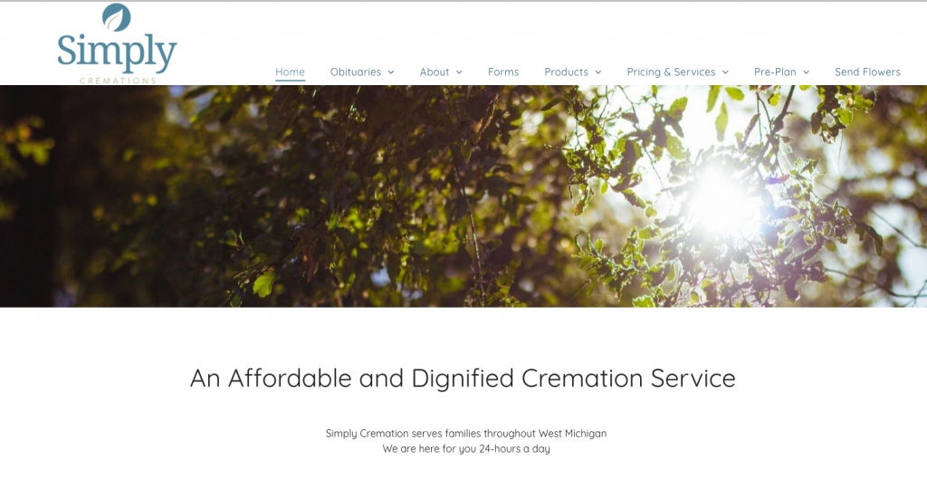 Simply Cremation Funeral Home Website Design