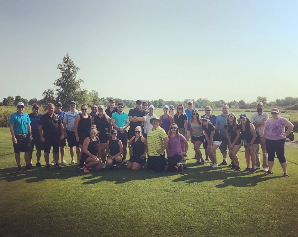 team building exercise at golf course