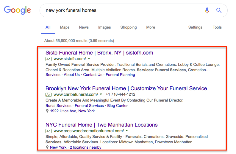 google ads new york funeral homes