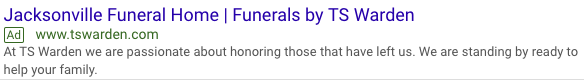 jacksonville funeral home google ads