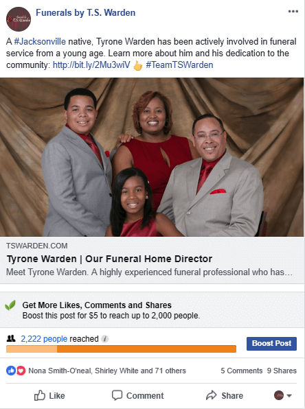 Funerals By TS Warden Facebook ad