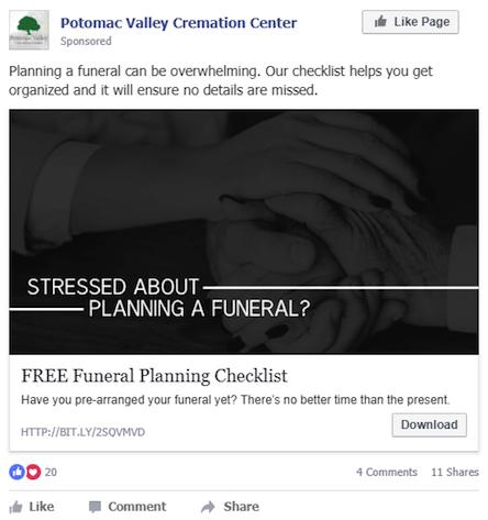 Potomac Valley Cremation Facebook Ad