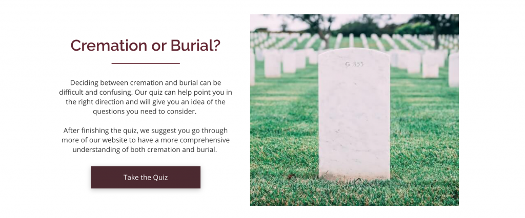 burial vs cremation funeral home website quiz