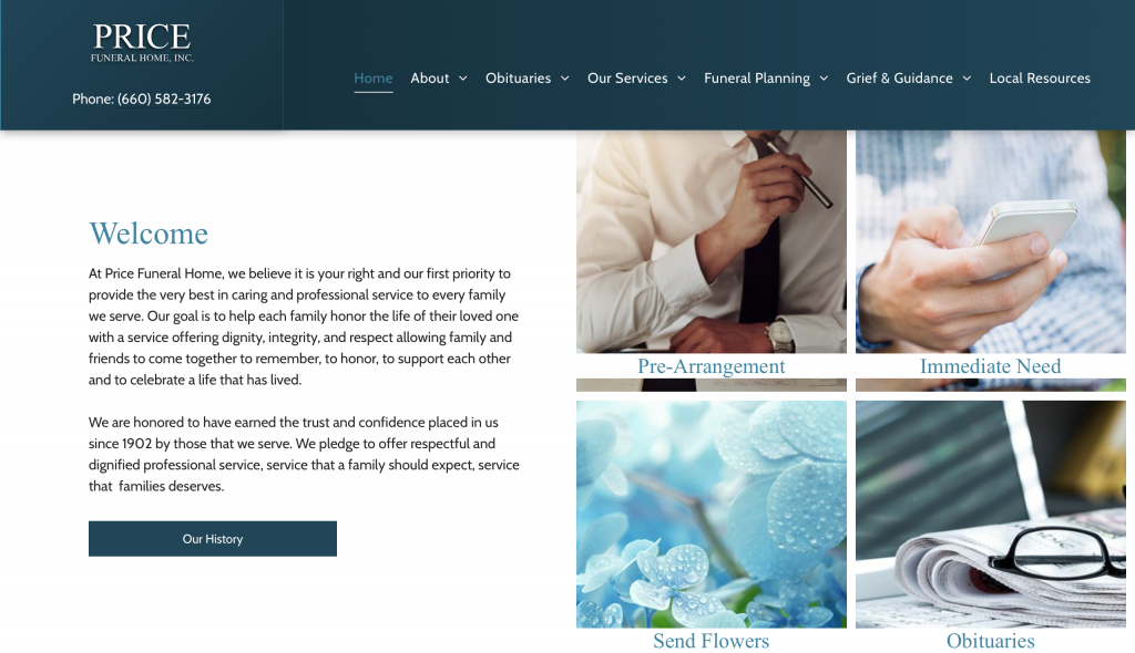Price Funeral Home website