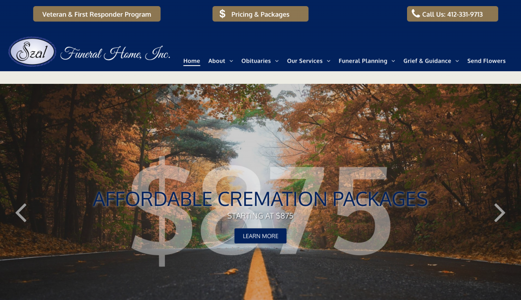 Szal funeral home website